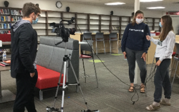 Students record interview in NRHS Makerspace