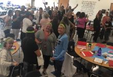 Monroe Elementary School teachers celebrate team building exercise.