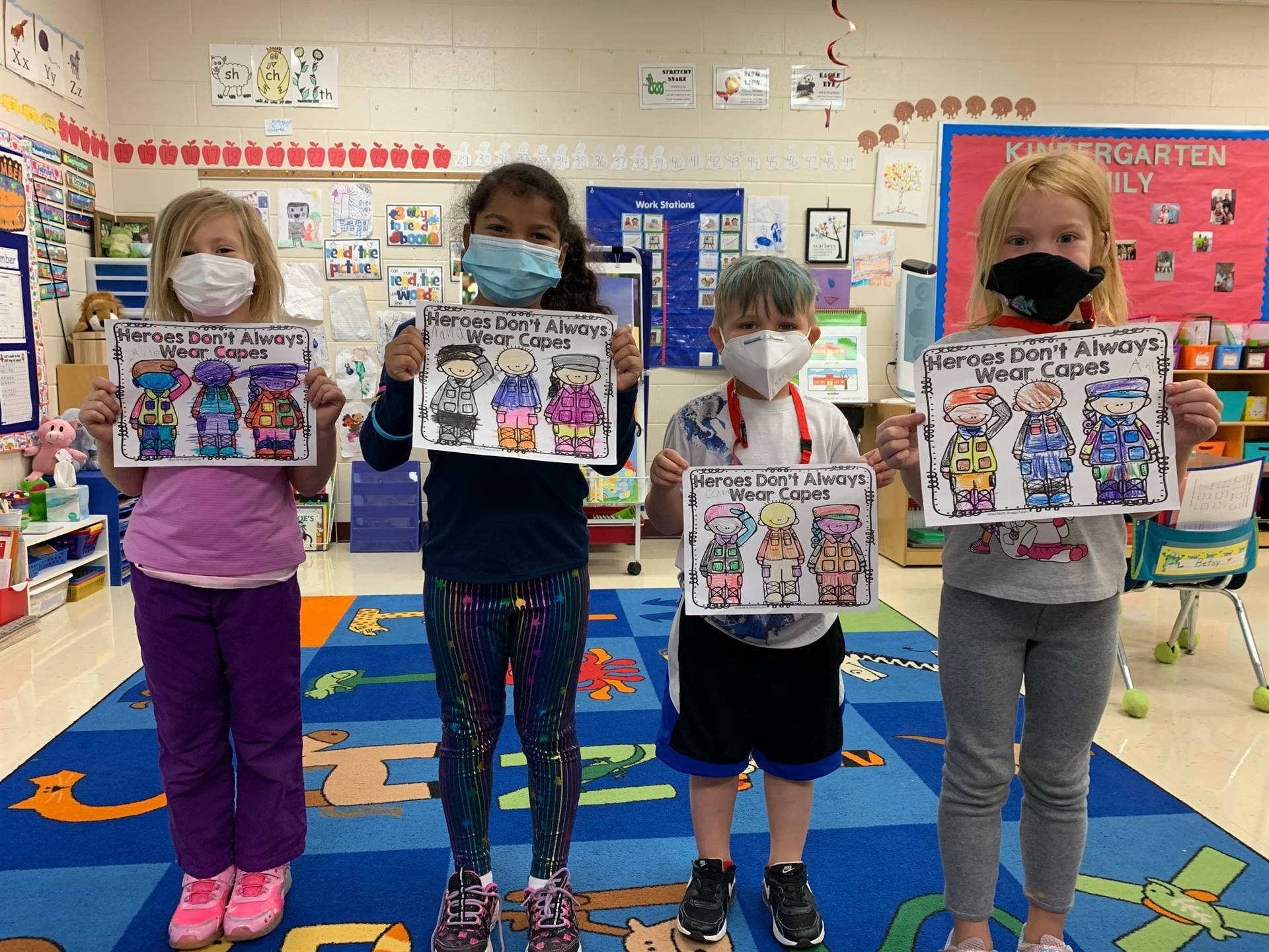 Students display postcards made for Veterans