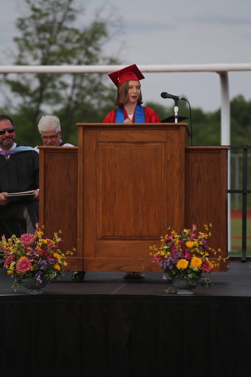 Graduation stage 2021 student presenter