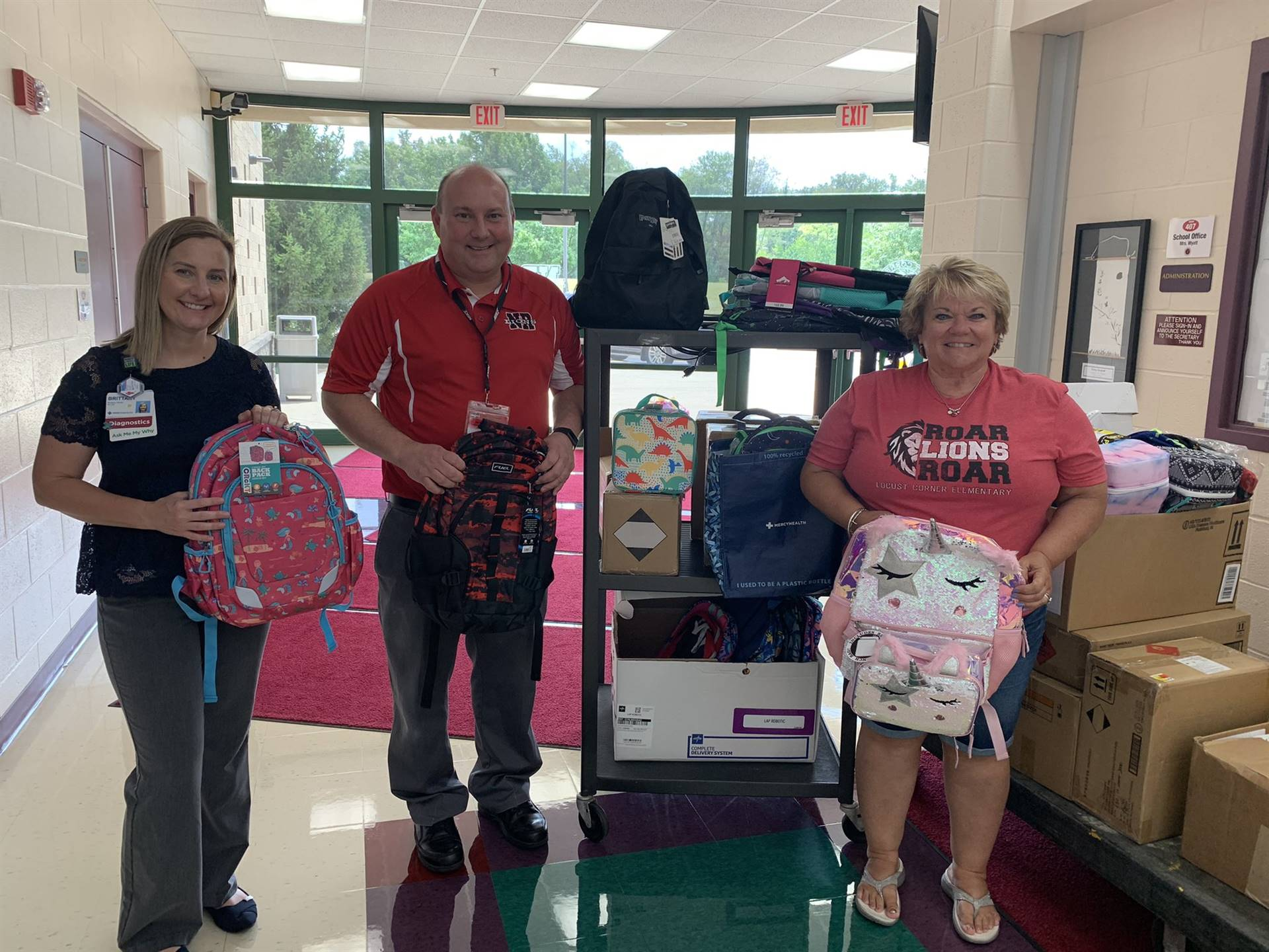 Principal, staff show off school supplies from Mercy Health