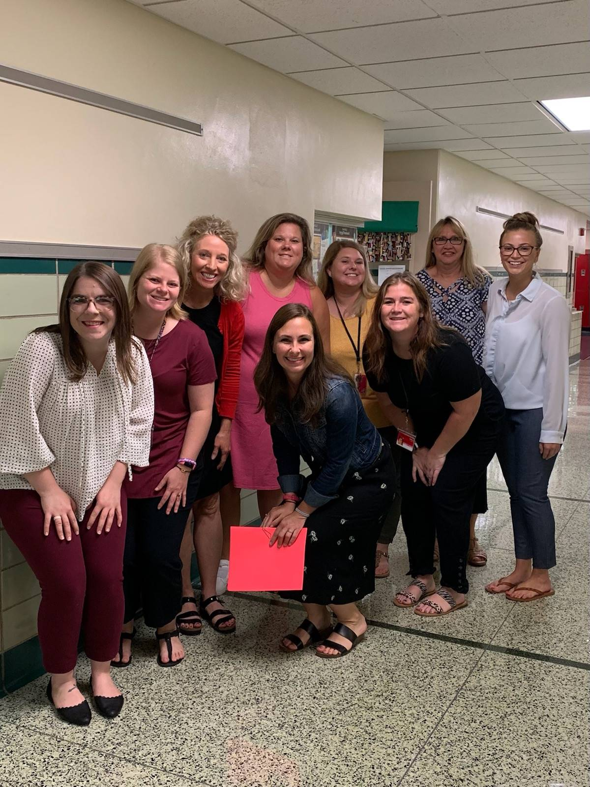 Middle school teachers pose for first day photo