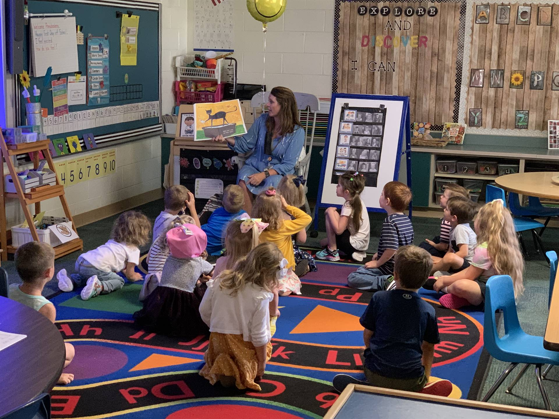 Storytime on the first day of preschool at Monroe